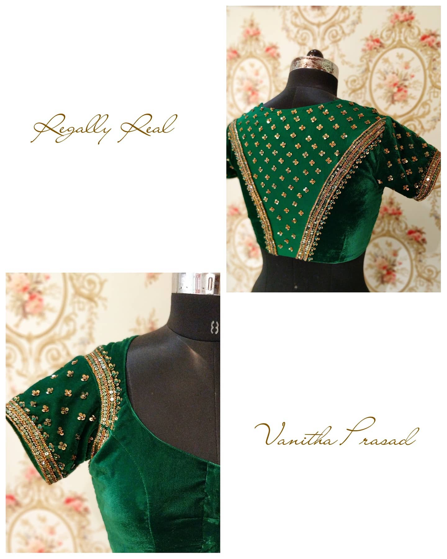 Gorgeous Green Color Velvet Cloth Designer Blouse With Floral Buti Design Hand Embroidery Zardosi Work Allover The Blouse New Saree Blouse Design New Style Blouse Design Wala Blouse 2020 11 17