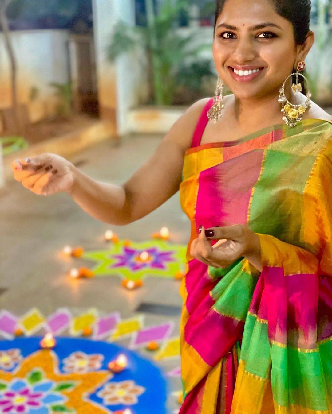 Beautiful designer Neeraja Kona at deevali celebrations.   designer sarees for wedding   sleeveless saree blouse   saree collection 2020   2020-11-17