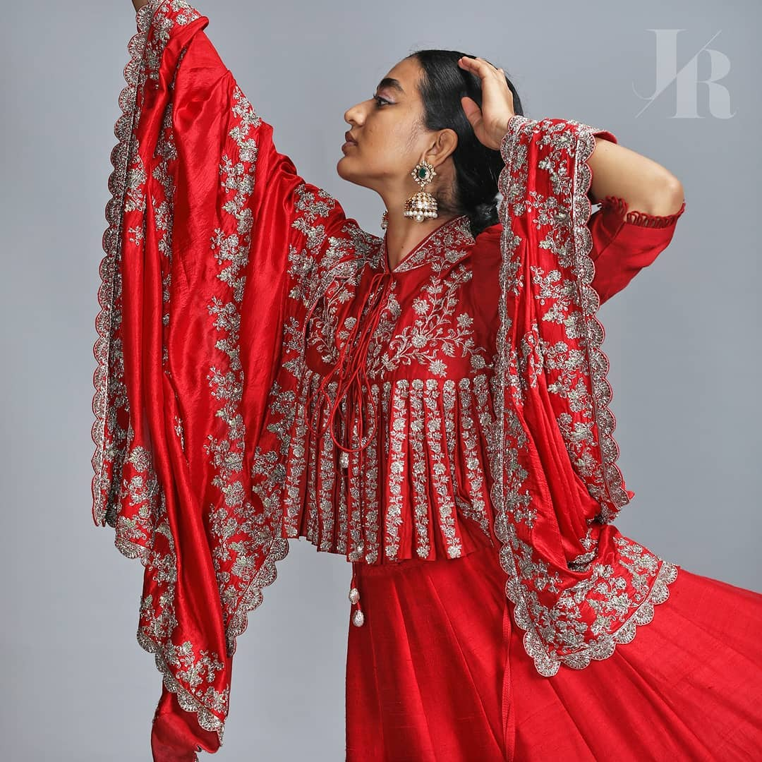 Rouge . Winter/Festive'2020 collection by jayanti Reddy. Embroidered peplum top paired with a lehenga and duppatta. | indian anarkali | wedding anarkali | palkhi fashion anarkali suit | 2020-11-18