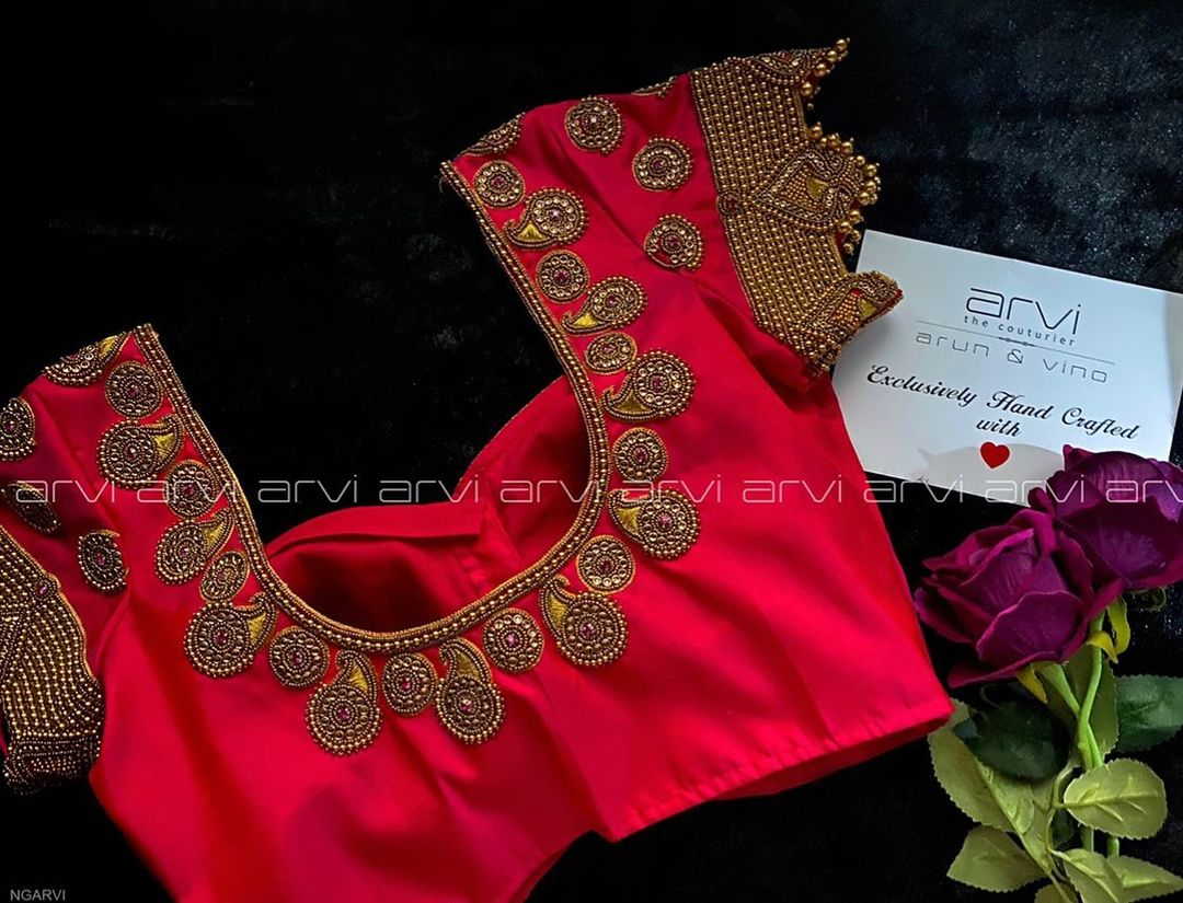 Lovely designer blouse with  bead aari work. | wedding blouse designs | contrast blouse | blauj ki dijain | 2020-11-20