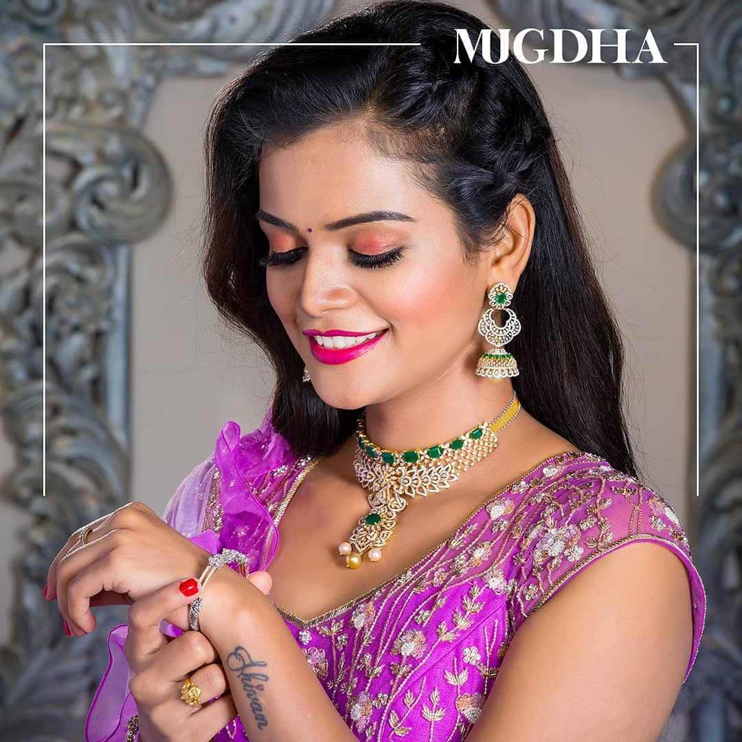 Mahishivan looking beautiful in purple net lehenga with intricate handwork all across. Giving a touch of spark with a ruffled dupatta.   dulhan lacha   latest lehenga designs 2020 with price   best lehenga online   2020-11-20