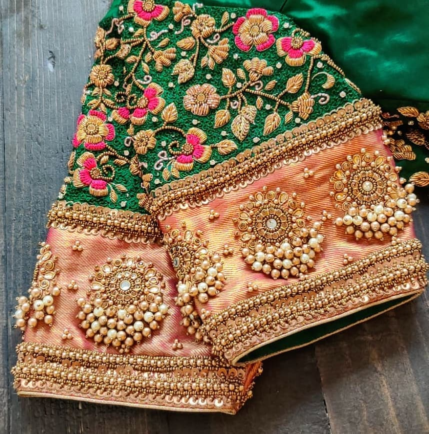 Bhuvana floral: SRUTHi KANNATH new 2020 favourite floral finely embroidered with beads pearls and silk threads forming creeper of leaves with a twist of jewel embellishment blouse.    onam saree blouse designs   blouse ke design   designer blouse online   2020-11-22