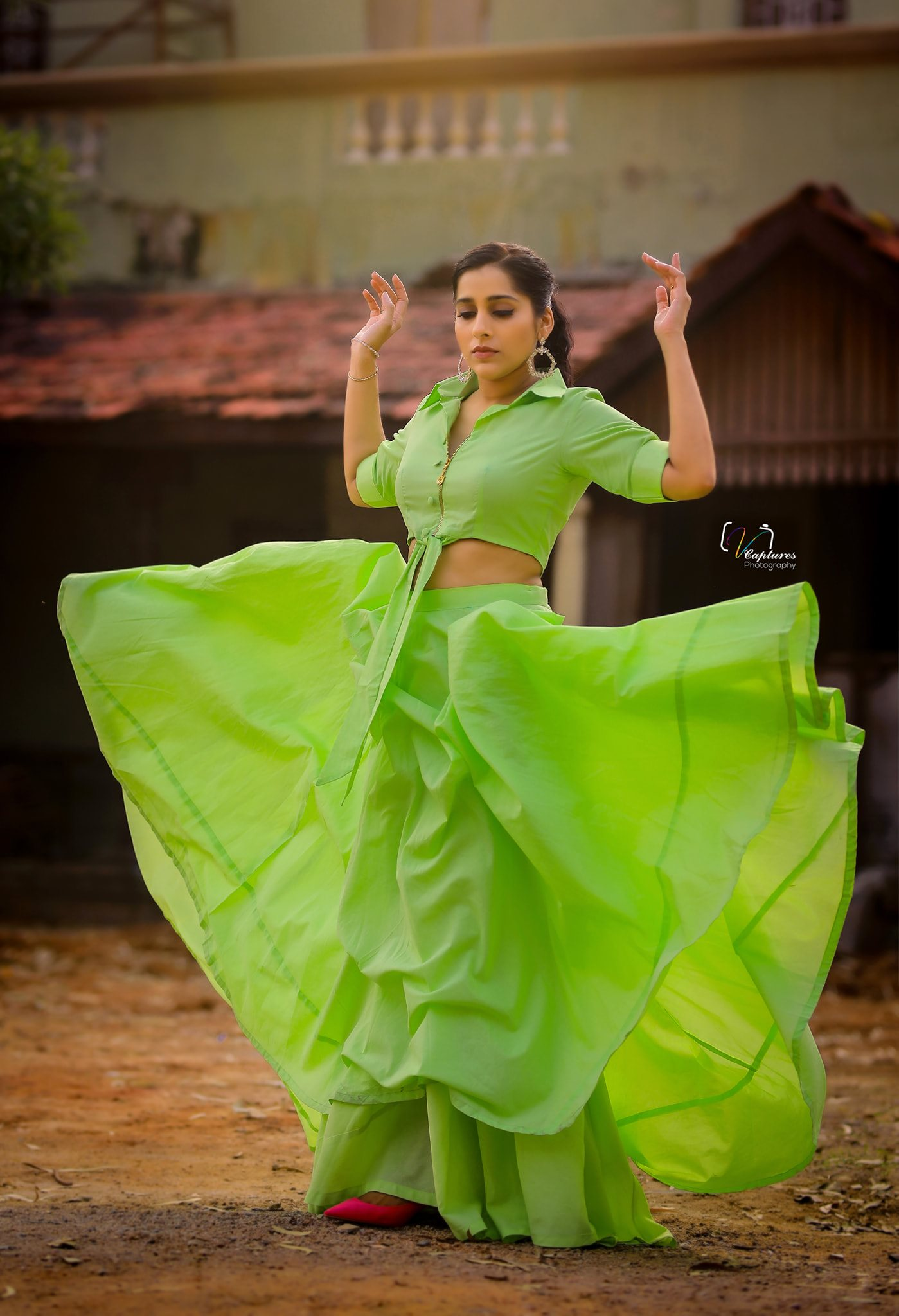 Beautiful actress Rashmi Gautham in radium color skirt and top.  |  |  |  | 2020-11-23