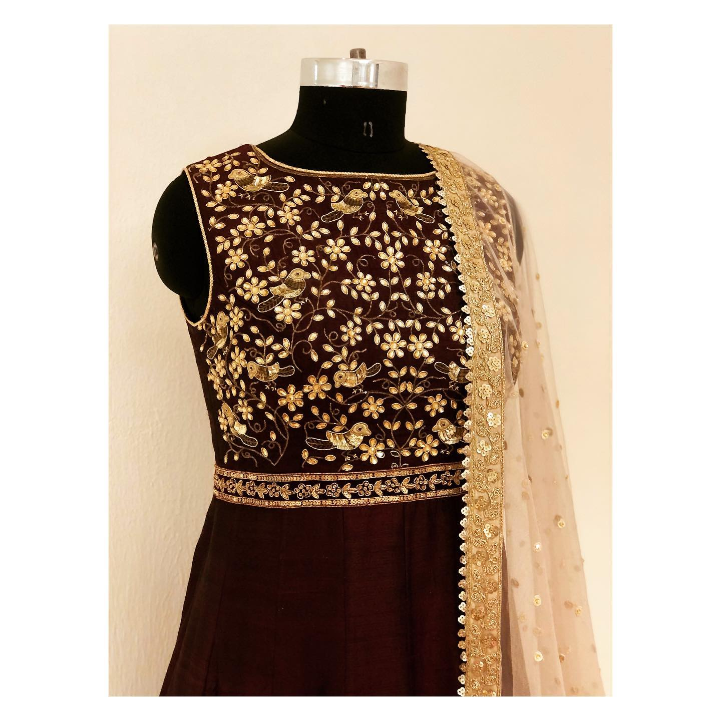 Deep maroon kundan work floor length anarkali with cut-dana border.  Can be customised in any color and size. For enquiry  email at shivani@intricado.com or Whatsapp at +918527463626 | anarkali churidar designs | frock suit with salwar | anarkali online shopping | 2020-11-24
