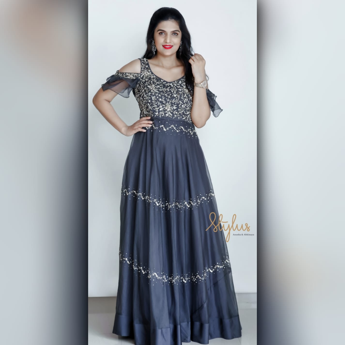 Grey is the queen of colors because she makes everyone else look good. Grey organza frock with layered embroidery. Dress up in this outfit to be the delight of the party.   latest indo western dresses   indo western online   latest indo western dresses 2020   2020-11-24