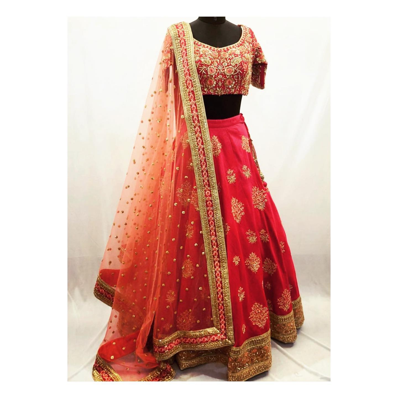 Customised this floral hand embroidered lehenga. For more details or enquiries  Email at shivani@intricado.com or Whatsapp:- +91 8527463626 | net lehenga | banarasi lehenga choli | designer ghagra | 2020-11-25