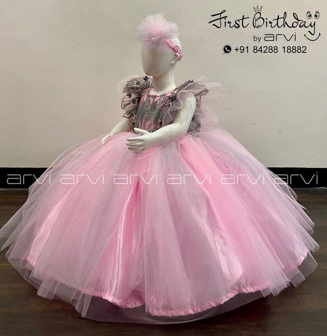 Beautiful blush pink color kids birthday gown from Arvi boutique. | 5 year girl party dress | pink dresses for little girl | baby girl gown | 2020-11-25