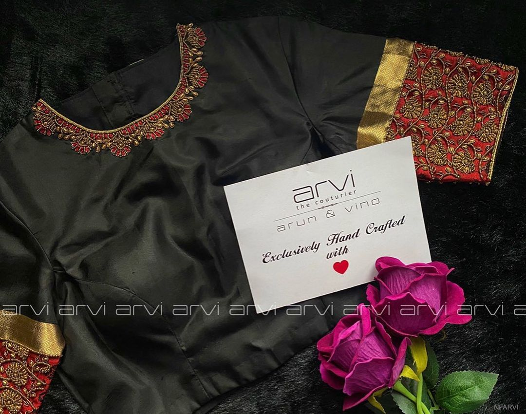 Stunning black color high neck blouse with jewel theme aari work on neckline. | women blouse design | saree and blouse | simple blouse designs 2020 | 2020-11-26
