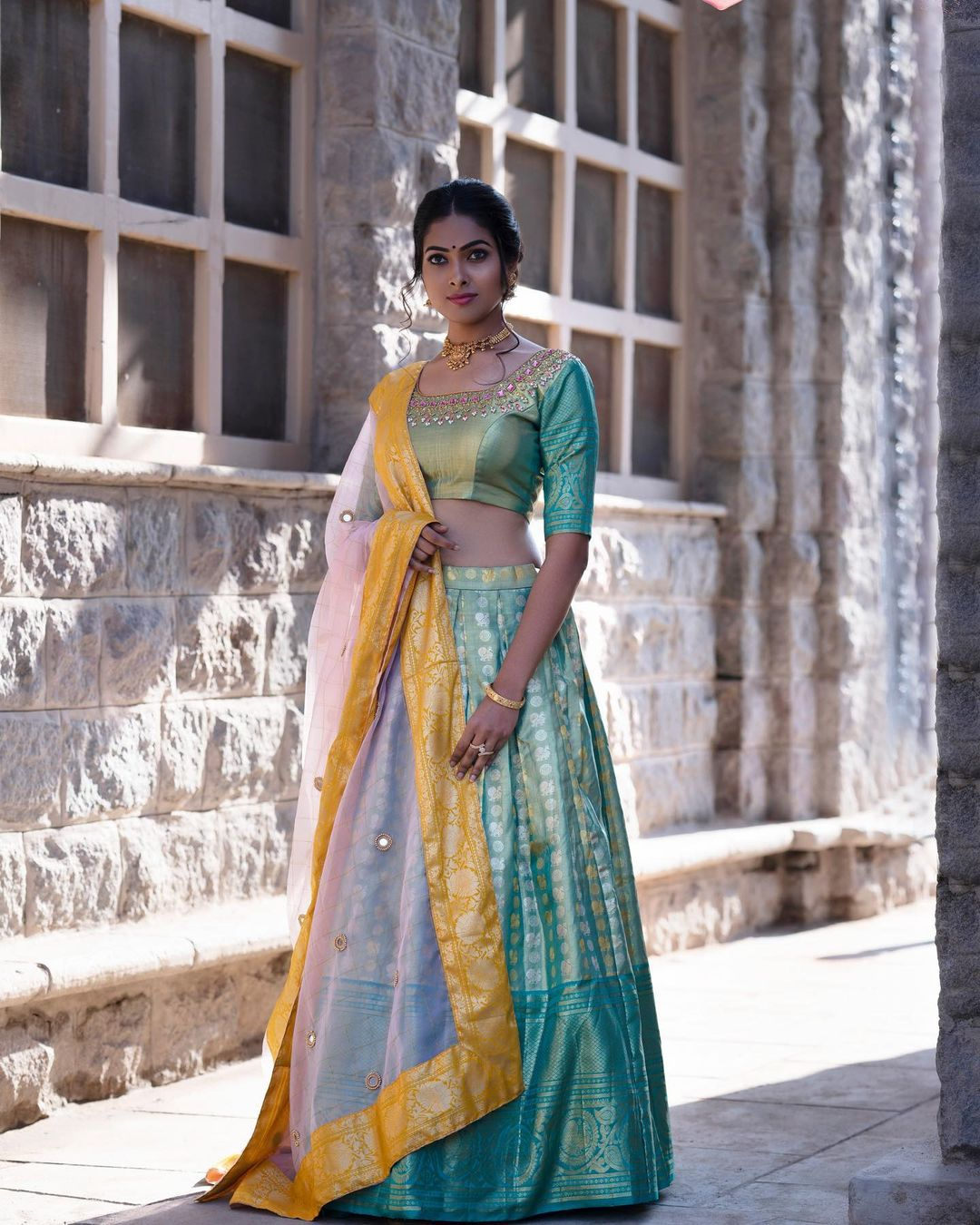 Actoress Divi in an icy blue kanchi pattu bridal lehenga by Priva collective.   lehenga look   ladies lancha   latest lehenga designs for wedding with price   2020-11-26