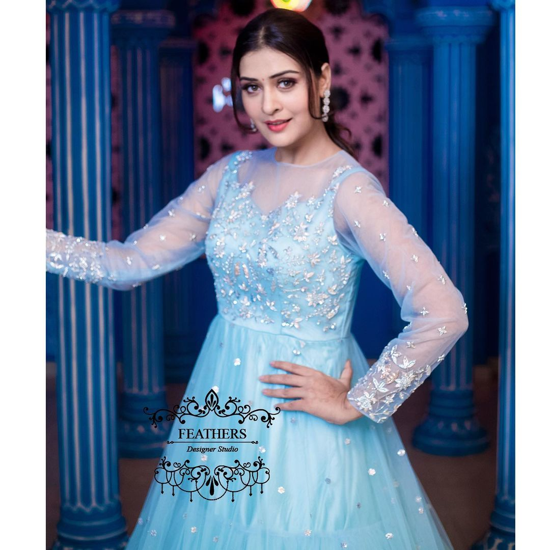 Beautiful actress Payal Rajput in ice blue color floor length dress by Feathers boutique. | western dress lehenga choli | blue indo western gown | indo western fusion | 2020-11-27