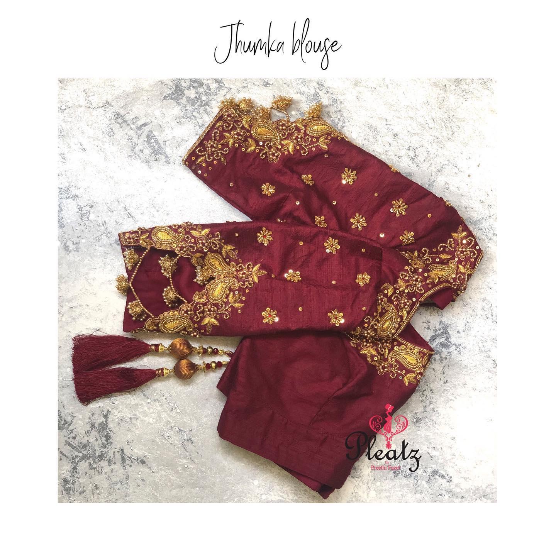 This Jhumka sleeve blouse is one of Pleatz favourite design this month!   paithani saree blouse   lehenga blouse design   choli blouse   2020-11-29