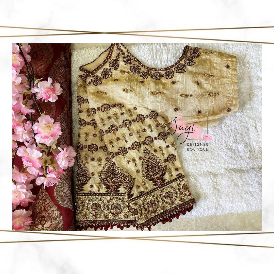 Stunning off white color designer blouse with floral design hand embroidery gold thread maggam work.   | readymade designer blouse | blouse ke gale new | blouse designs 2020 | 2020-12-02