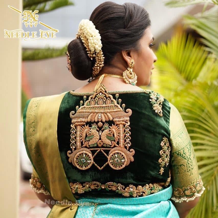 Chariot details. Gorgeous bottle green color velvet cloth designer blouse with Chariot details.  | new latest blouse design | full neck blouse | blouse ka gala design | 2020-12-02