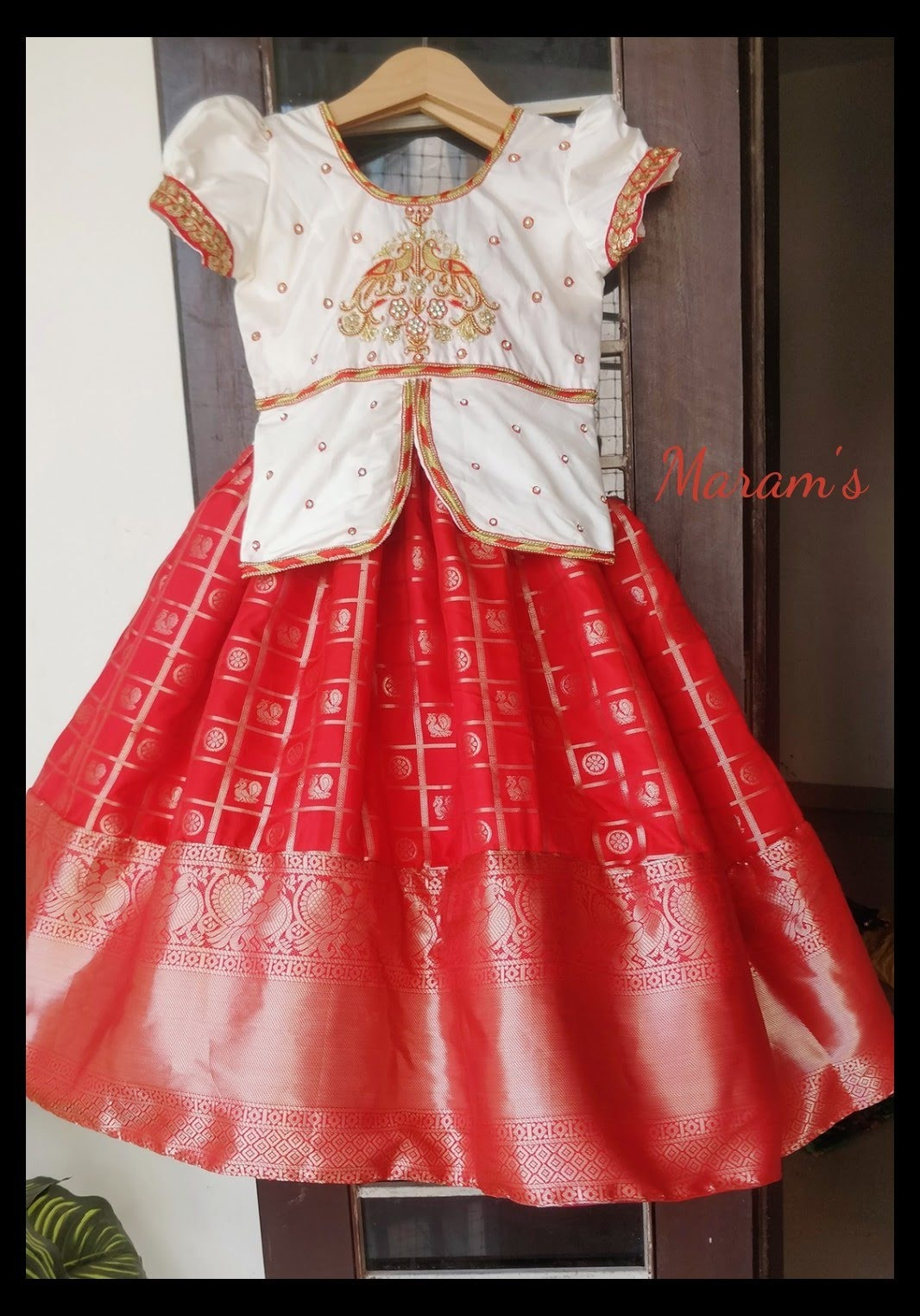 Customised red and off-white lehenga finished with handworked peplum top for cute lill girl..  For inquires call or whatsapp us on 91-9966888267 | baccho ka long frock | children ball gown | little girls white dress | 2020-12-03