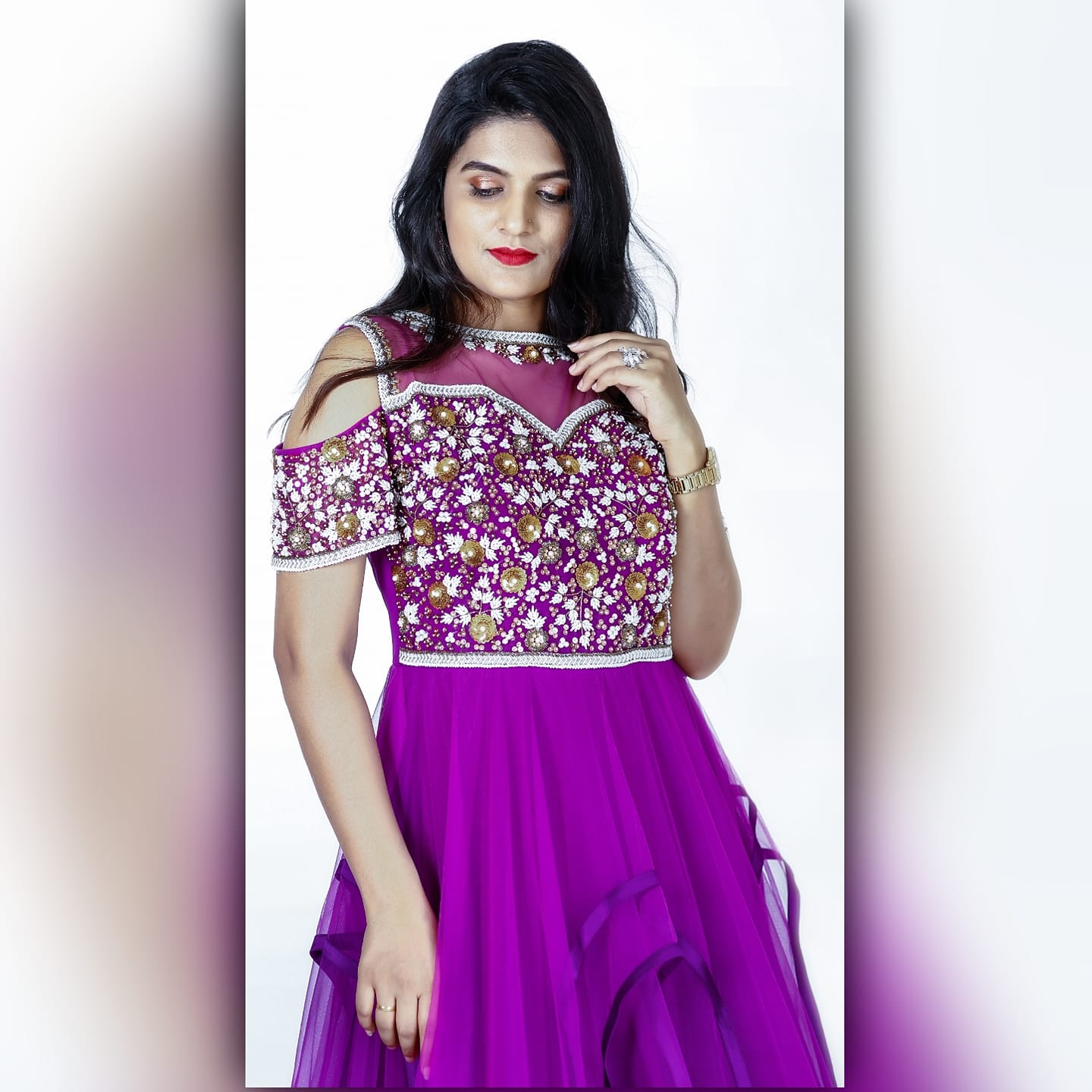 Purple is a kind of radiance. It is a class apart. Purple frock with embroidery to yolk and mutlilayered flare.   lehenga indo western dress   indo western palazzo dress   indo western dressing   2020-12-03