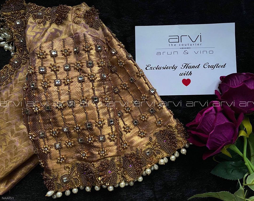 Stunning gold blouse with bead and stone aari work.   latest net blouse designs   cotton saree blouse designs catalogue   choli blouse   2020-12-03