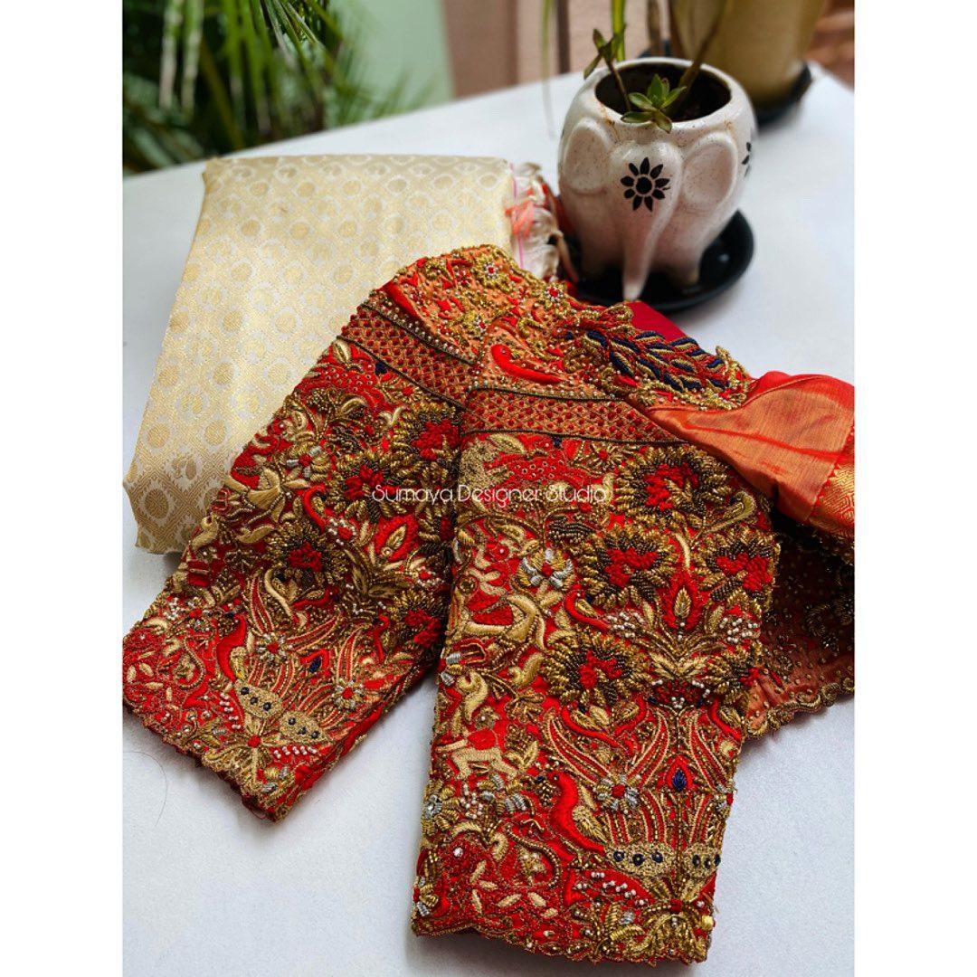 Stunning bridal designer blouse with heavy hand embroidery work.  | modern blouse designs | blouse ka design | plain blouse designs | 2020-12-03