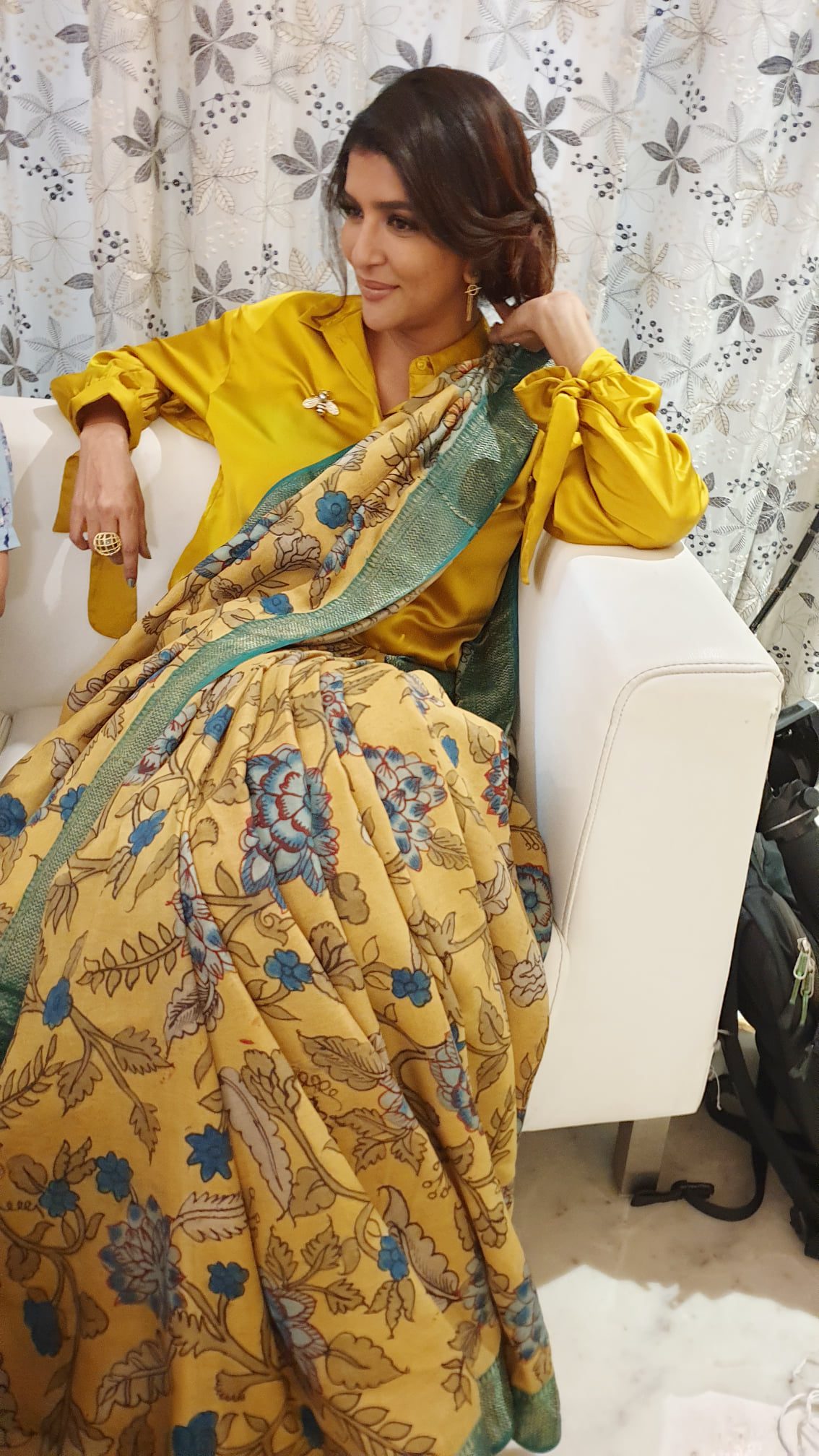 Yellow the colour of sunshine hope & happiness. Lakshmi Manchu really just want to be the warm yellow light that pours over    golden saree online   new saree blouse   latest saree blouse back neck designs 2012   2020-12-04