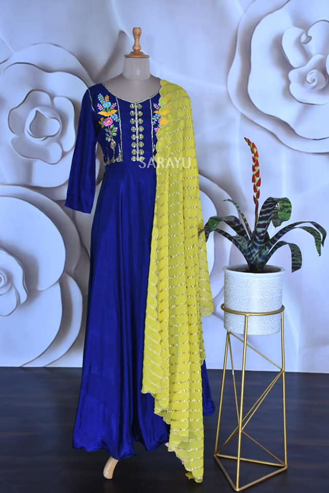 Blue and lemon yellow Black Uppada silk heavy yoke work