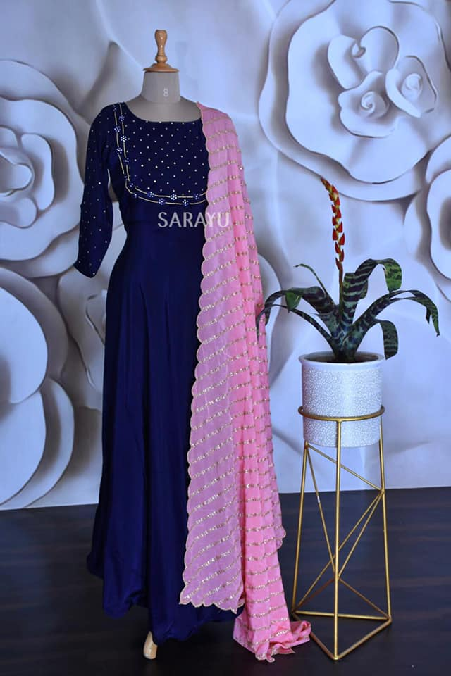 Deep Blue with Pink Uppada silk