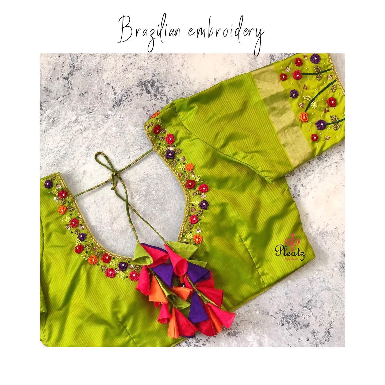 Elegant Brazilian embroidery work blouses customised at Pleatz. | blouse back neck design | saree and blouse | blouse neck designs 2020 | 2020-12-04