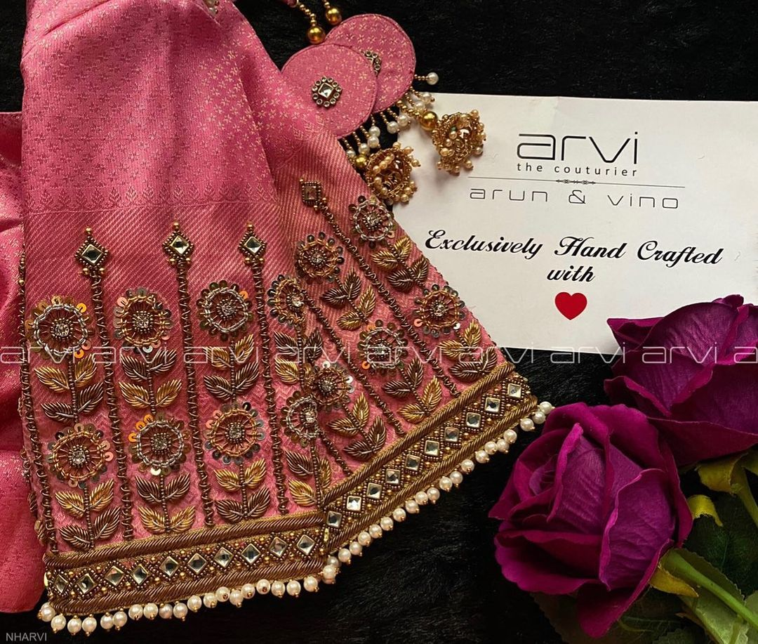 Stunning designer blouse with floral climber design hand embroidery aari work.    blouse ke gale design   lehenga blouse back designs   simple blouse back neck designs with borders   2020-12-04