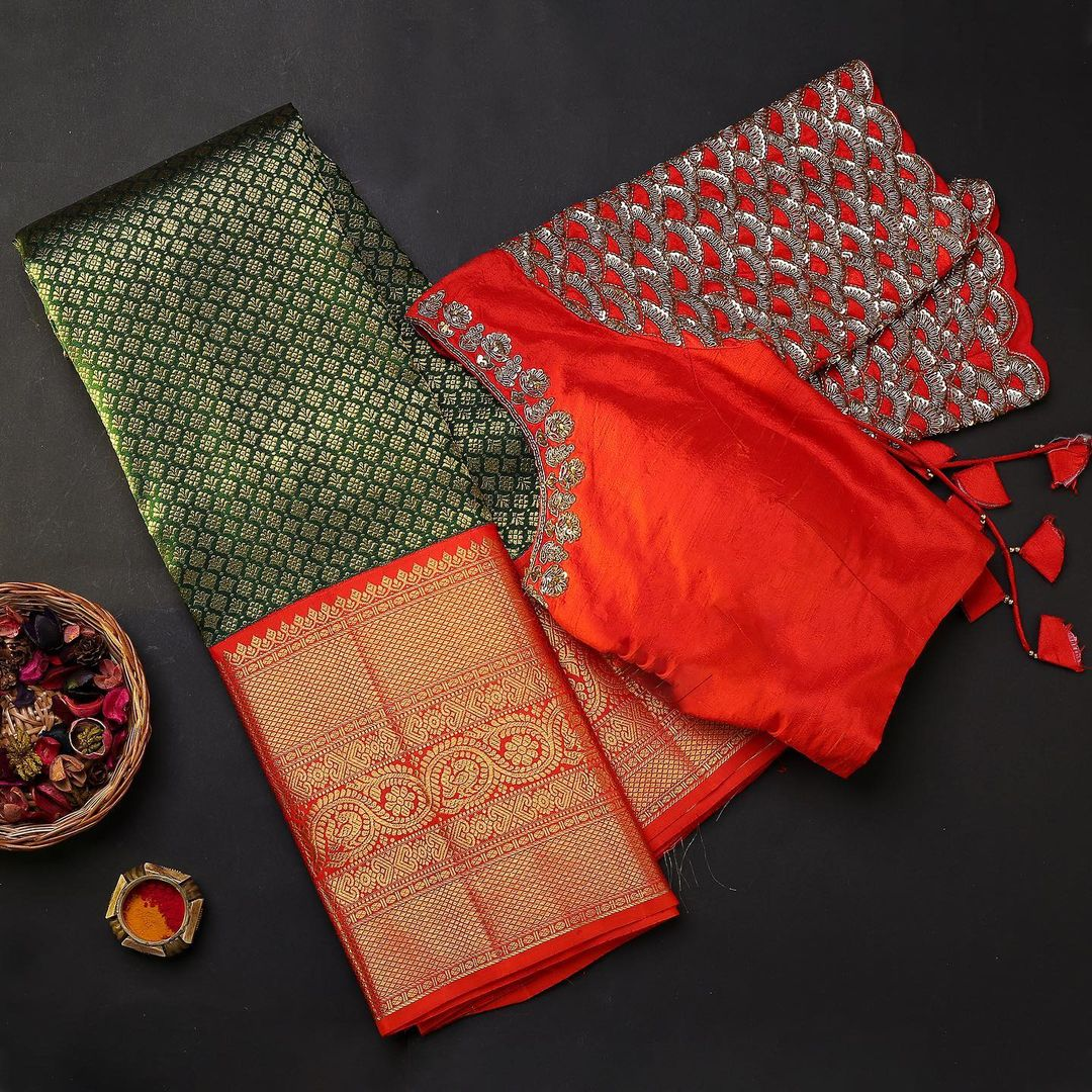 This captivating handwoven saree textured in silk and beautified with a charming zari antiques! The colour palette is certainly cheerful  festive and gorgeous! - Worldwide free shipping Contact : 00919845922959 Email: Esales@samyakk.com  Product Code: RG2391   red black saree   designer saree   party wear saree design   2020-12-04