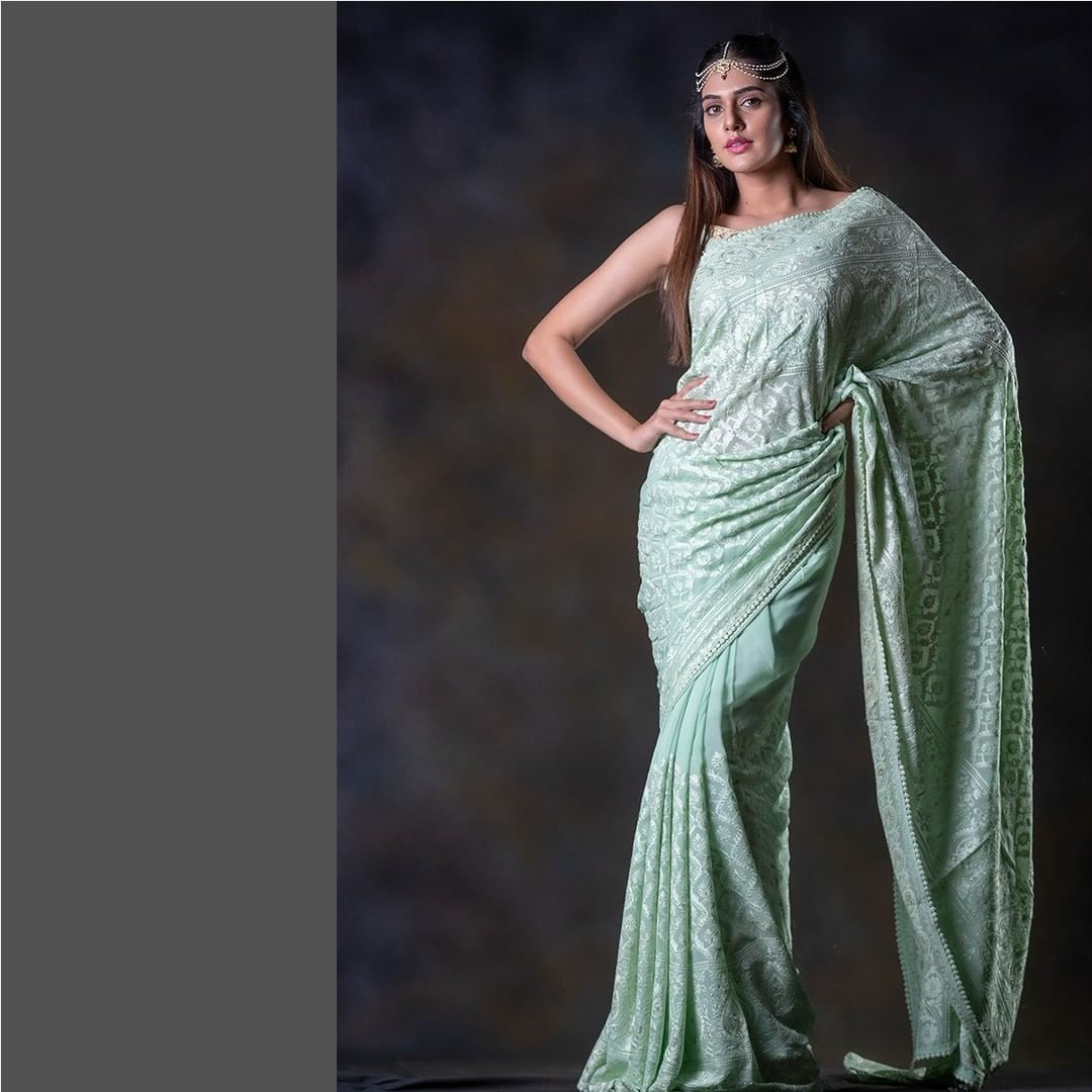 Light sea green embroidered saree is your light weight Elance to be worn for your daily wear or any social gathering.  In frame : Kritya karda. Jewellery : Alluring accessories. HMUA : Mask makeup artist.  For orders and enquiries: +91 7993710111. | pattu saree blouse designs 2020 | golden net saree | readymade saree blouses online | 2020-12-04