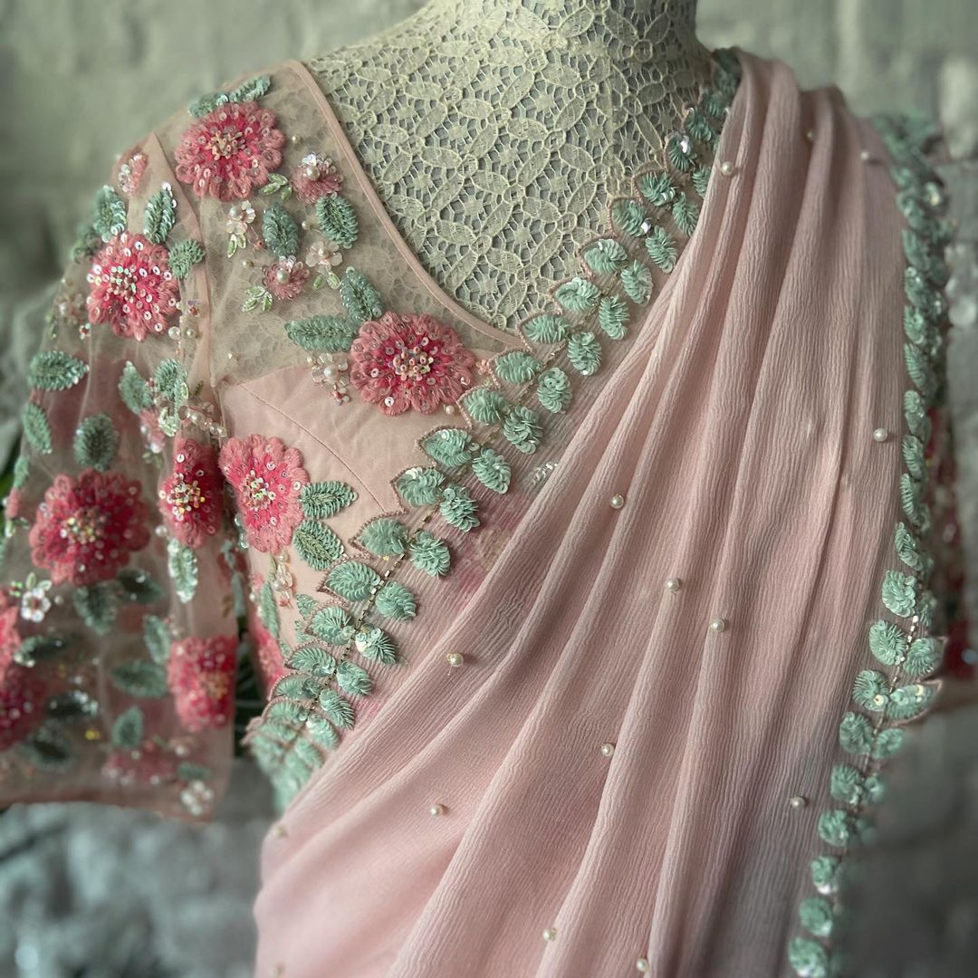 So Demure So Pretty! Summer by Priyanka Gupta saree. | designer sarees for wedding reception online | designer blouse online | silk saree blouse designs | 2020-12-05