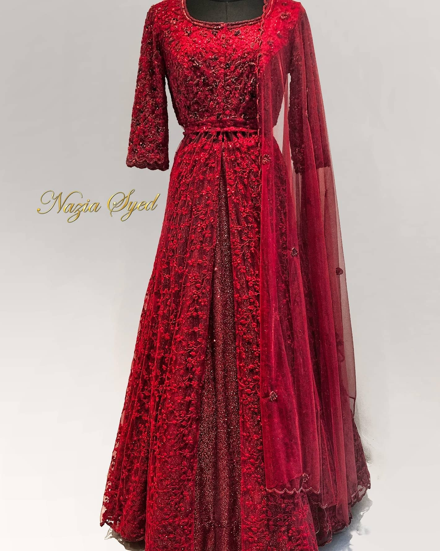 There is a shade of red for every woman .. Customised bridal options from Nazia syed.  | green frock suit | anarkali lehenga | long anarkali dress | 2020-12-09