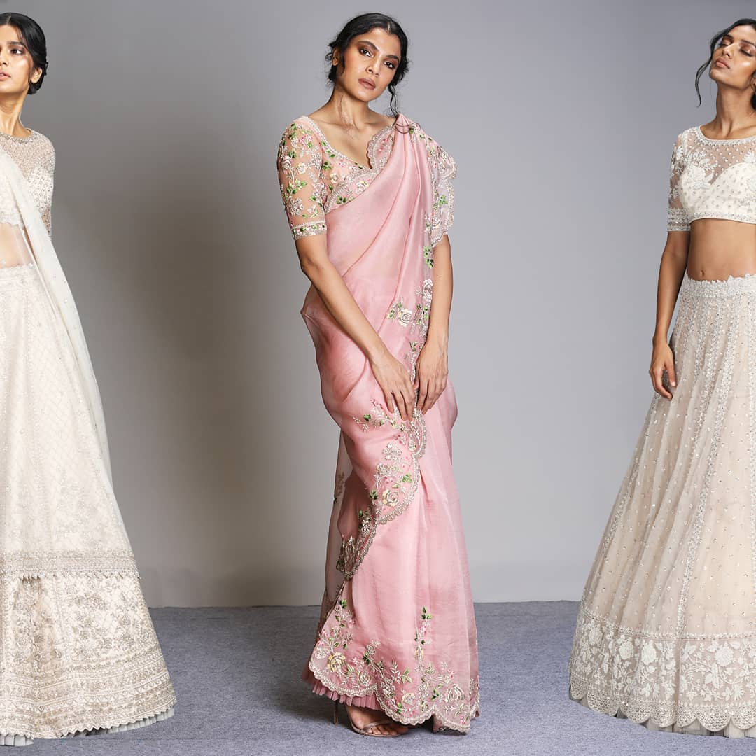 Dreaming of a beautiful winter wedding with these pastel hues! Versatile silhouettes that can be styled from one season to another! | saree blouse designs 2020 | latest designer party wear sarees | bridal designer sarees for wedding reception | 2020-12-09