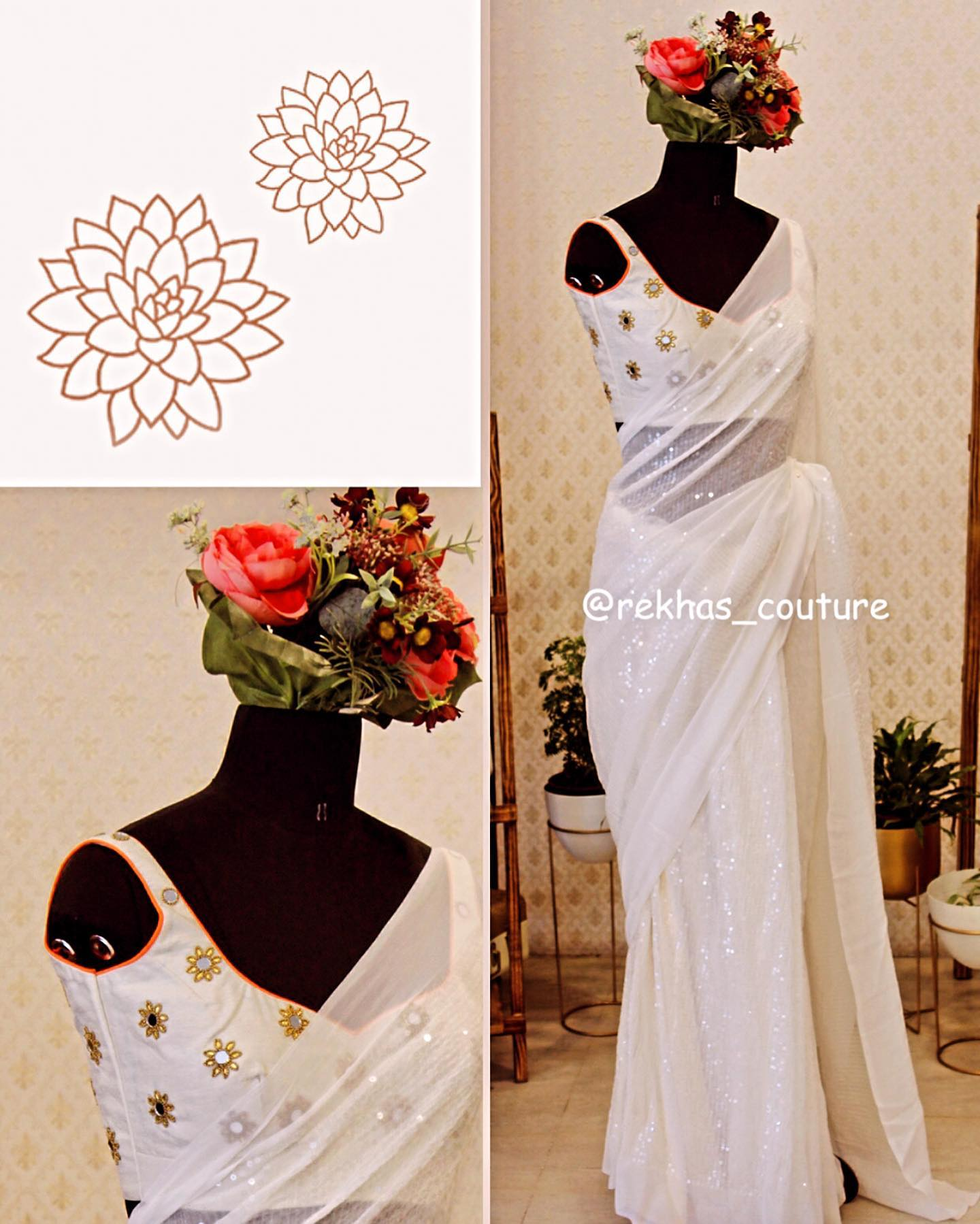 Stunning pearl white color designer saree and sleeveless blouse with mirror hand embroidery work.  | new lehenga designs | saree blouse design 2020 | online saree shopping sites | 2020-12-09