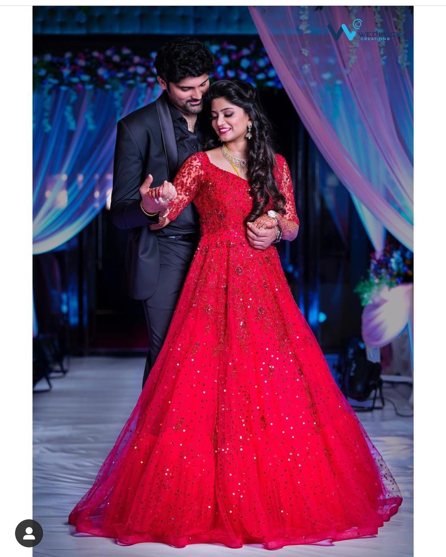 Samrat likitha looking stunning in Tasya  red self worked long tulle gown...  | long anarkali dress | short anarkali suit | anarkali suit design 2020 | 2020-12-15