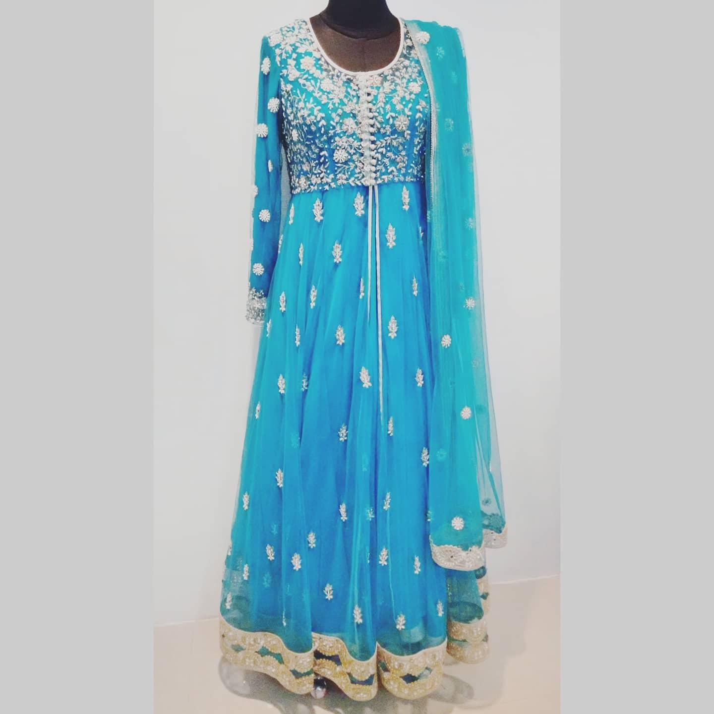 Gorgeous ice blue color designer floor length anarkali dress with hand embroidery work.   | simple frock suit design | layered anarkali | sangria anarkali | 2020-12-15