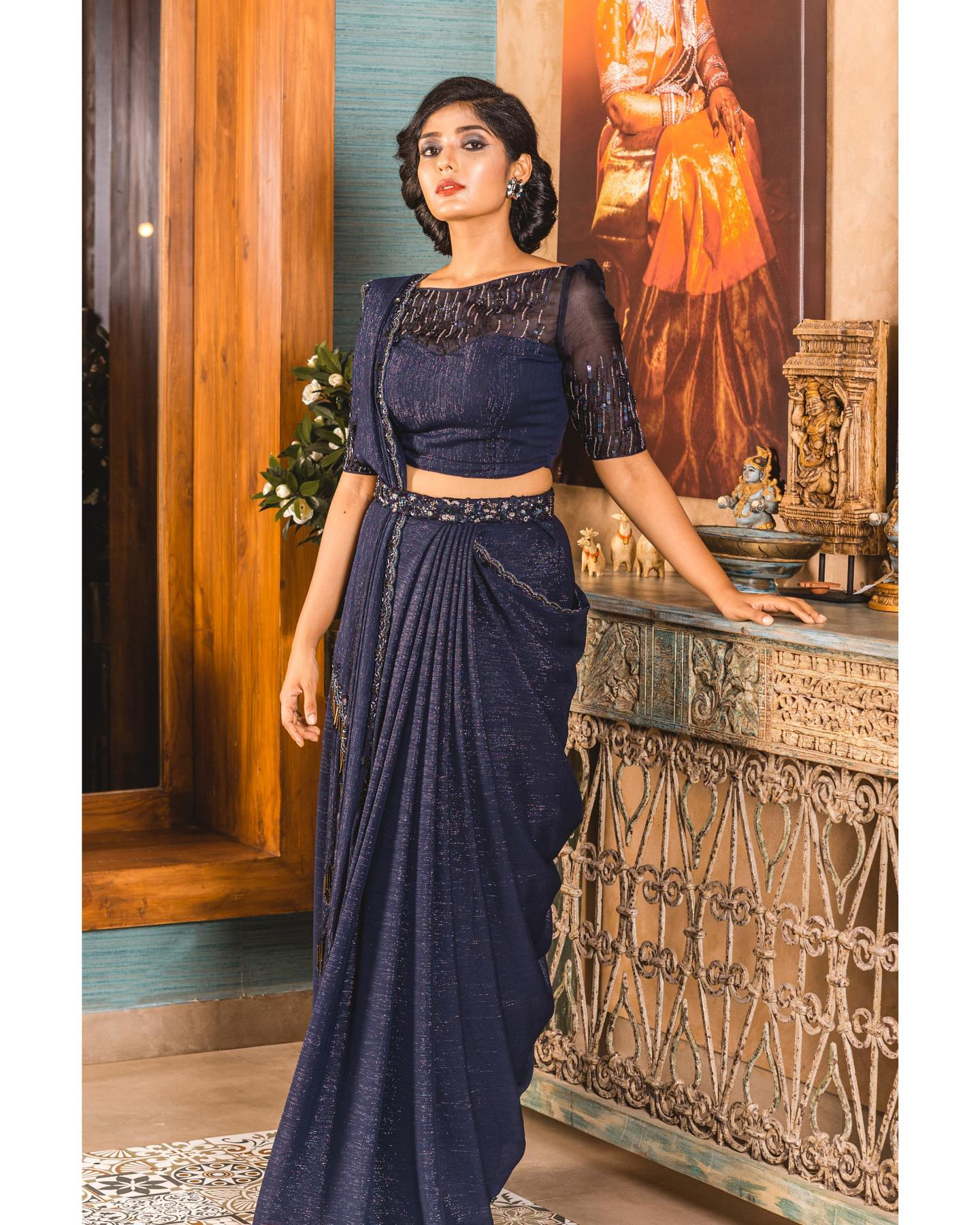 Drape Saree Shimmer Georgette Sequin Embellished Drape Saree A Perfect Evening Party Outfit Bollywood Style Saree Paithani Blouse Designs 2020 Saree Ki Design 2020 12 15