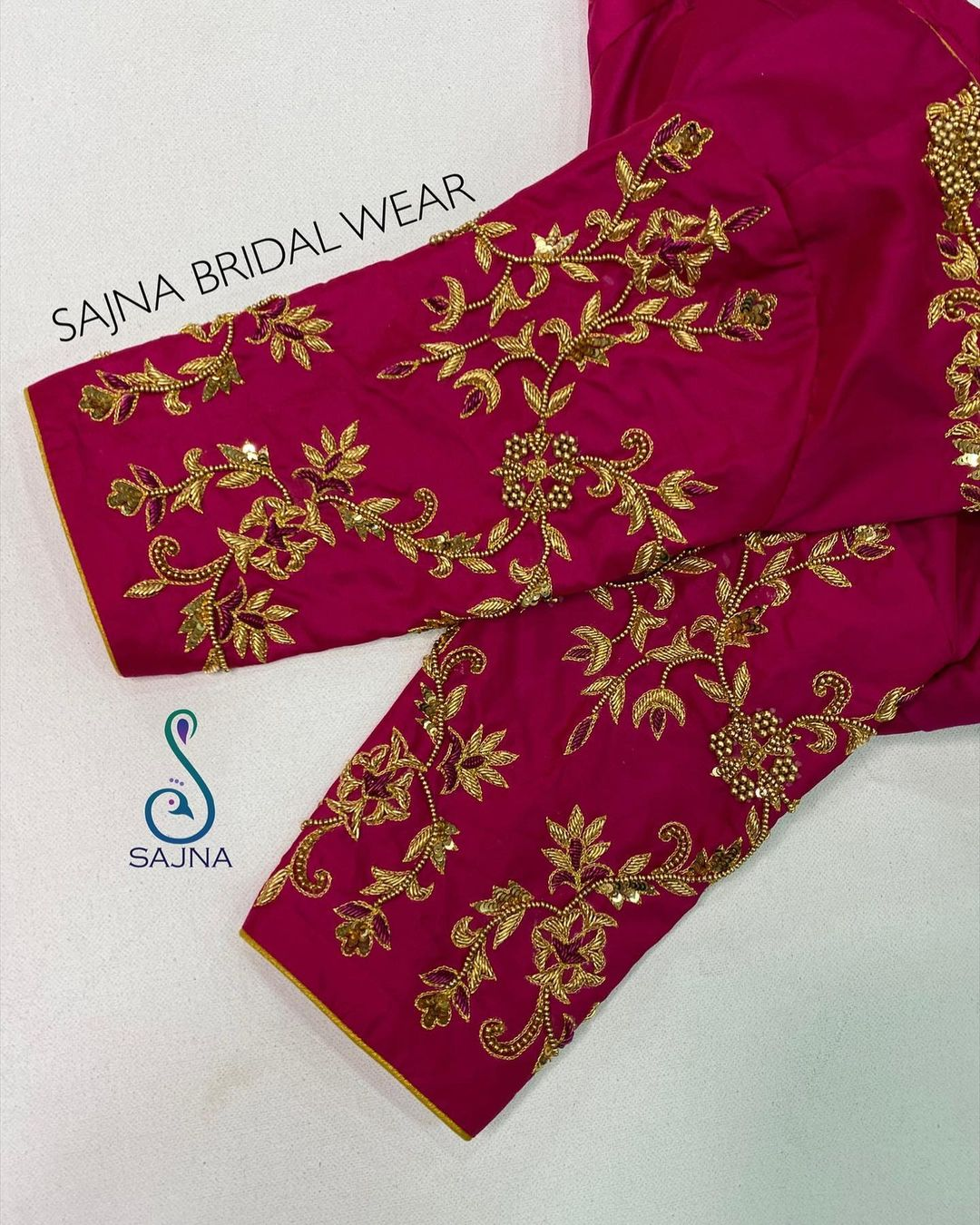Gorgeous wine color designer blouse with bead aari work on sleeves. | blouse designs back side | blouse gala design | blouse designs for silk sarees wedding | 2020-12-15