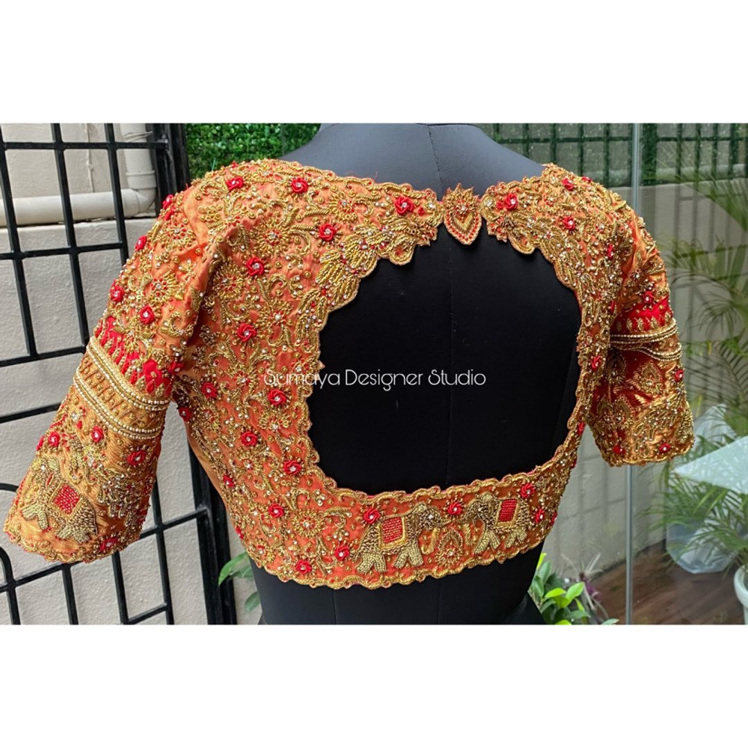 Stunning bridal blouse with elephants and floral creeper design hand embroidery maggam work.  | latest blouse | different blouse hand designs | blouse ke gale ki design | 2020-12-15