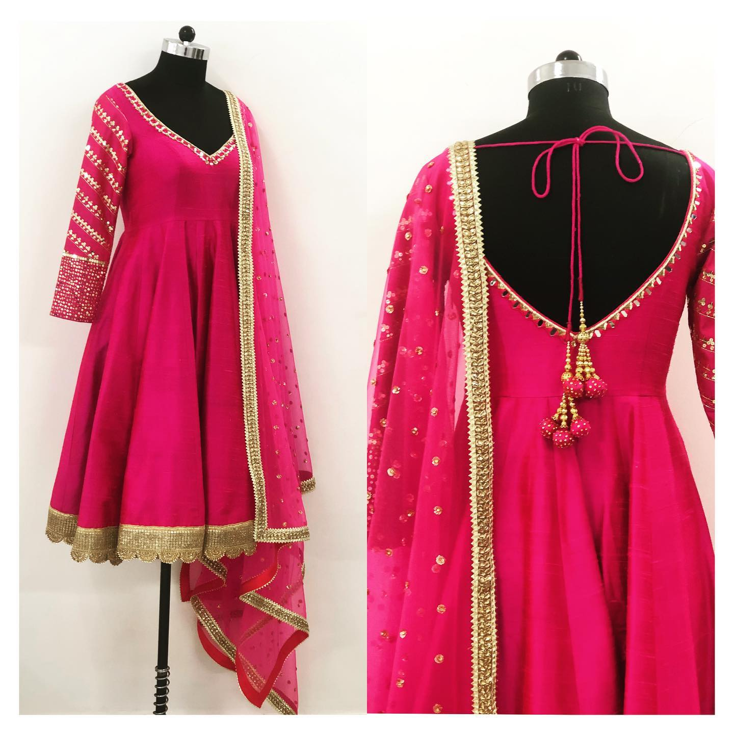 Hot pink hand embroidered anarkali anarkali in pure raw silk.