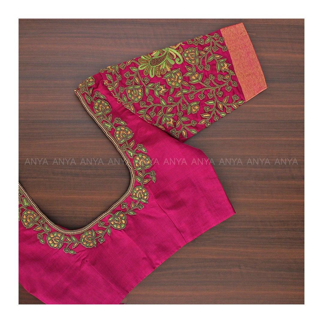 Gorgeous pink color designer blouse with floral creeper design hand embroidery thread maggam work work.    aari work blouse designs   back neck design   blouse ke design ke gale   2020-12-18