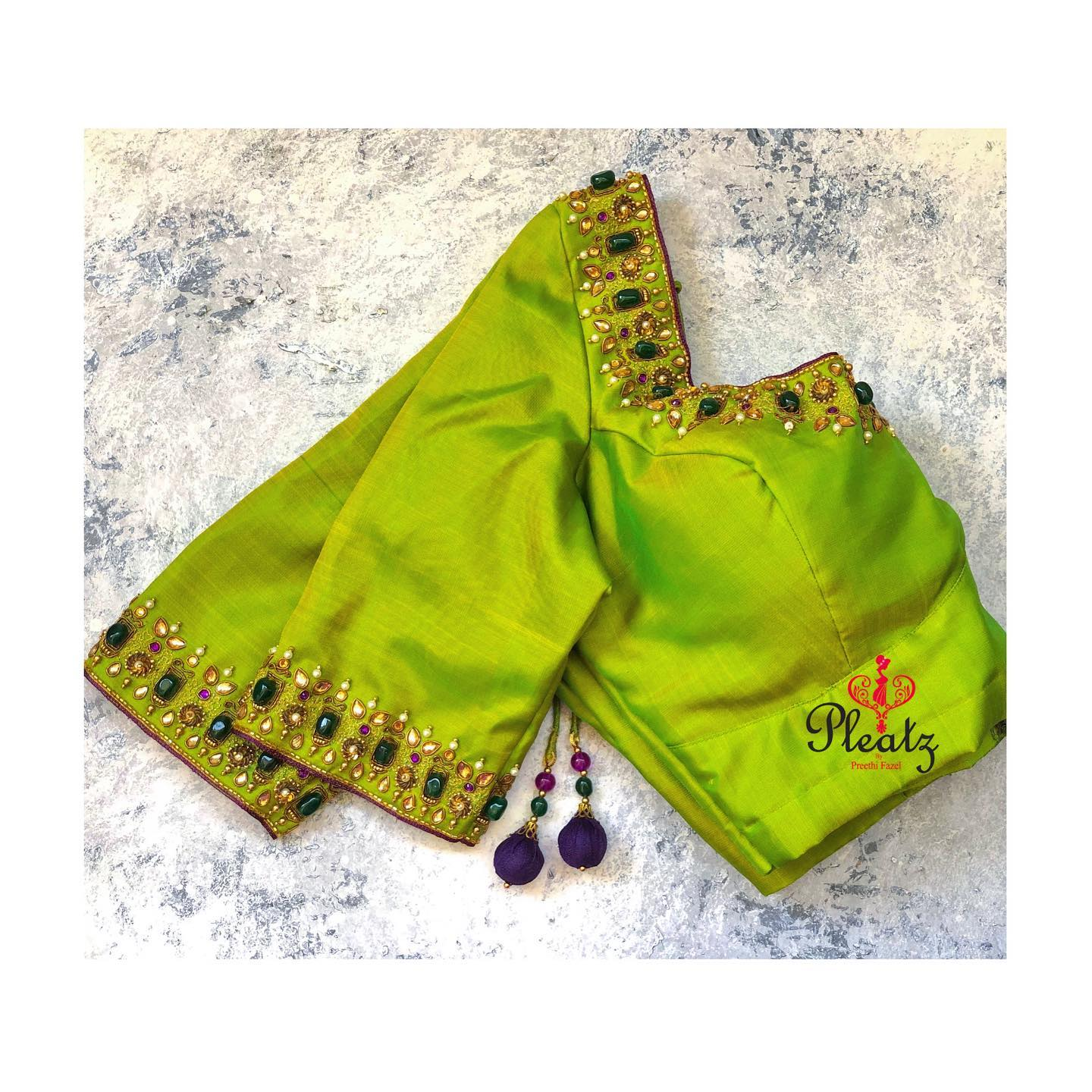 elegant Tumble beads blouse customised at Pleatz. Classy designs to attend wedding parties & for other Occasions. | simple blouse work designs | blouse neck and sleeve designs | blouse neck designs 2020 | 2020-12-20