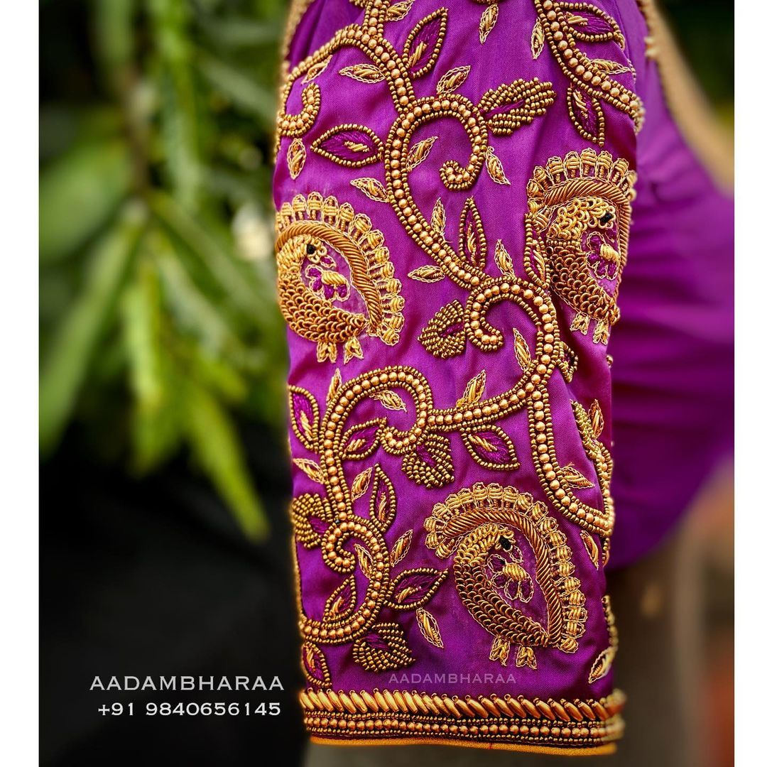 Gorgeous purple color designer blouse with creeper design hand embroidery  bead aari work on sleeves. | new blouse design 2020 | blouse patch work design 2020 | boat neck back design | 2020-12-21