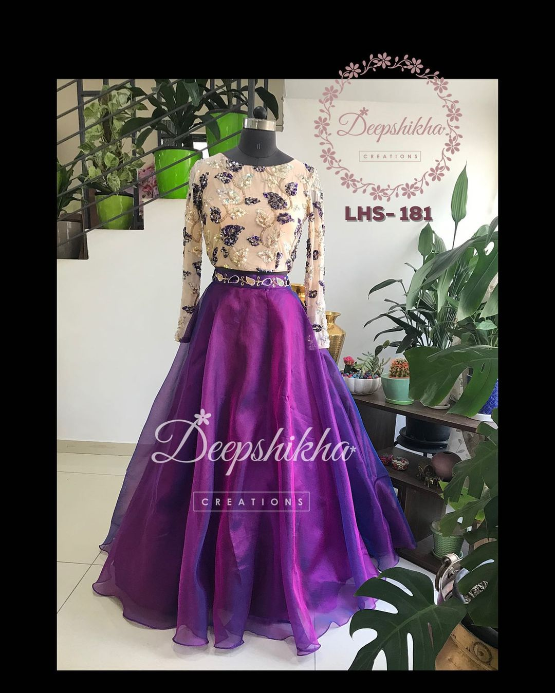 LHS - 181. Gorgeous purple color skirt and off white color crop top with hand embroidery work. 