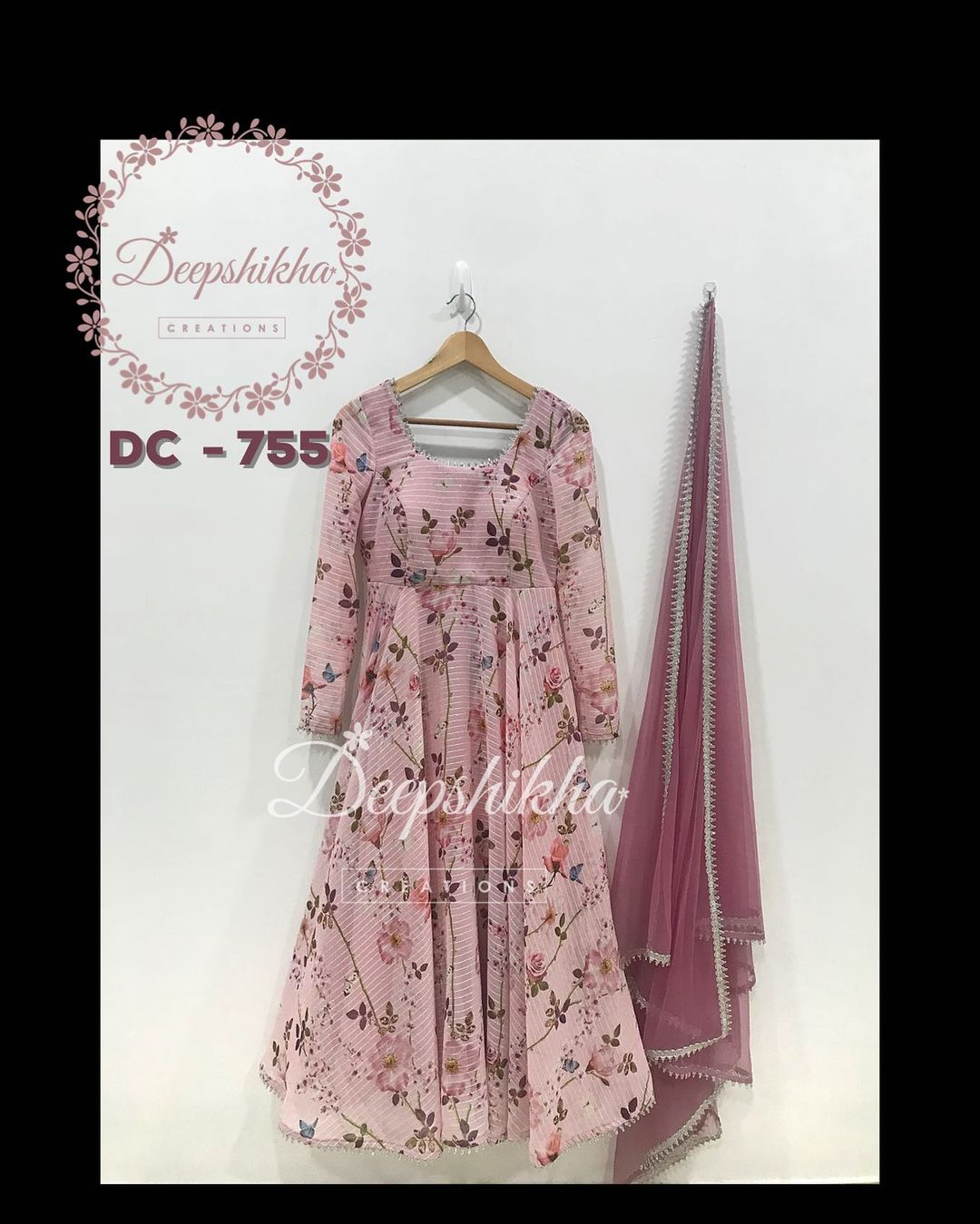 DC - 755. Gorgeous blush pink color floor length dress with net dupatta. Floor length dress with floral print.