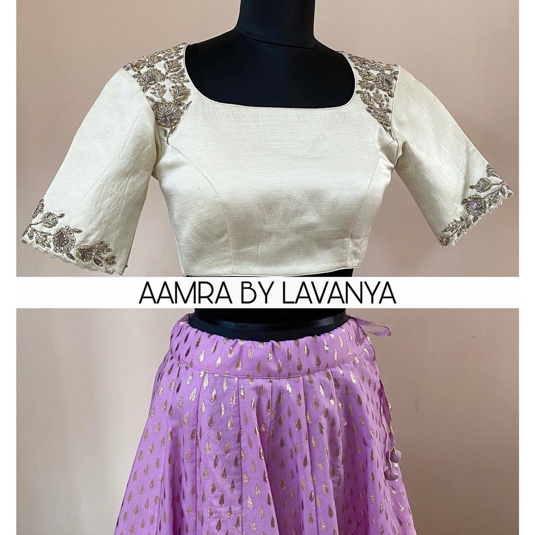 Lilac lehenga paired with an intricately hand embroidered croptop blouse. For orders and queries call/whatsapp on +91-9177363970. | lehenga online shopping | chaniya choli 2020 | crop top lehenga with dupatta | 2020-12-21