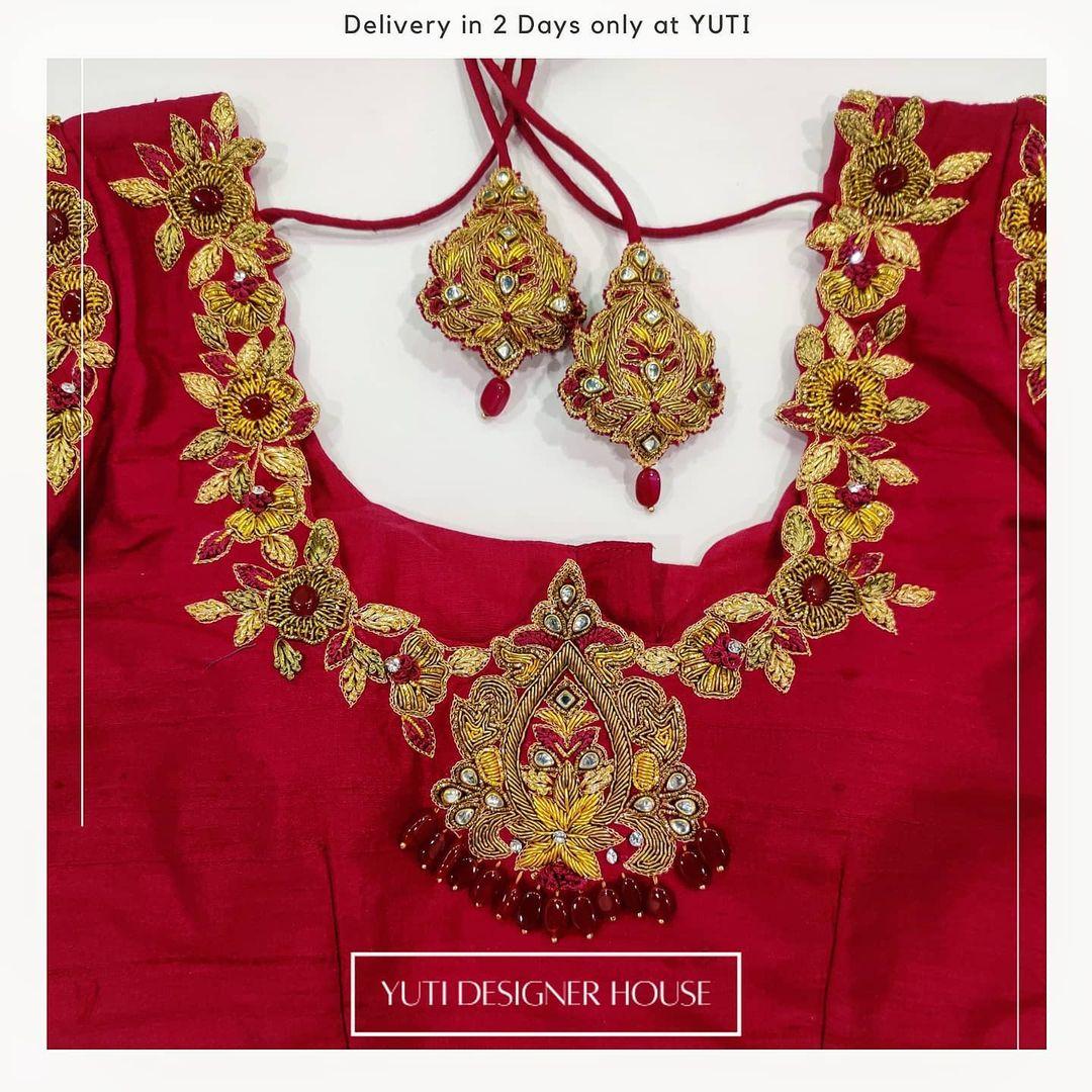 Stunning red color designer blouse with floral design zardosi work. | readymade bridal blouses online | back neck design | pot neck blouse | 2020-12-21