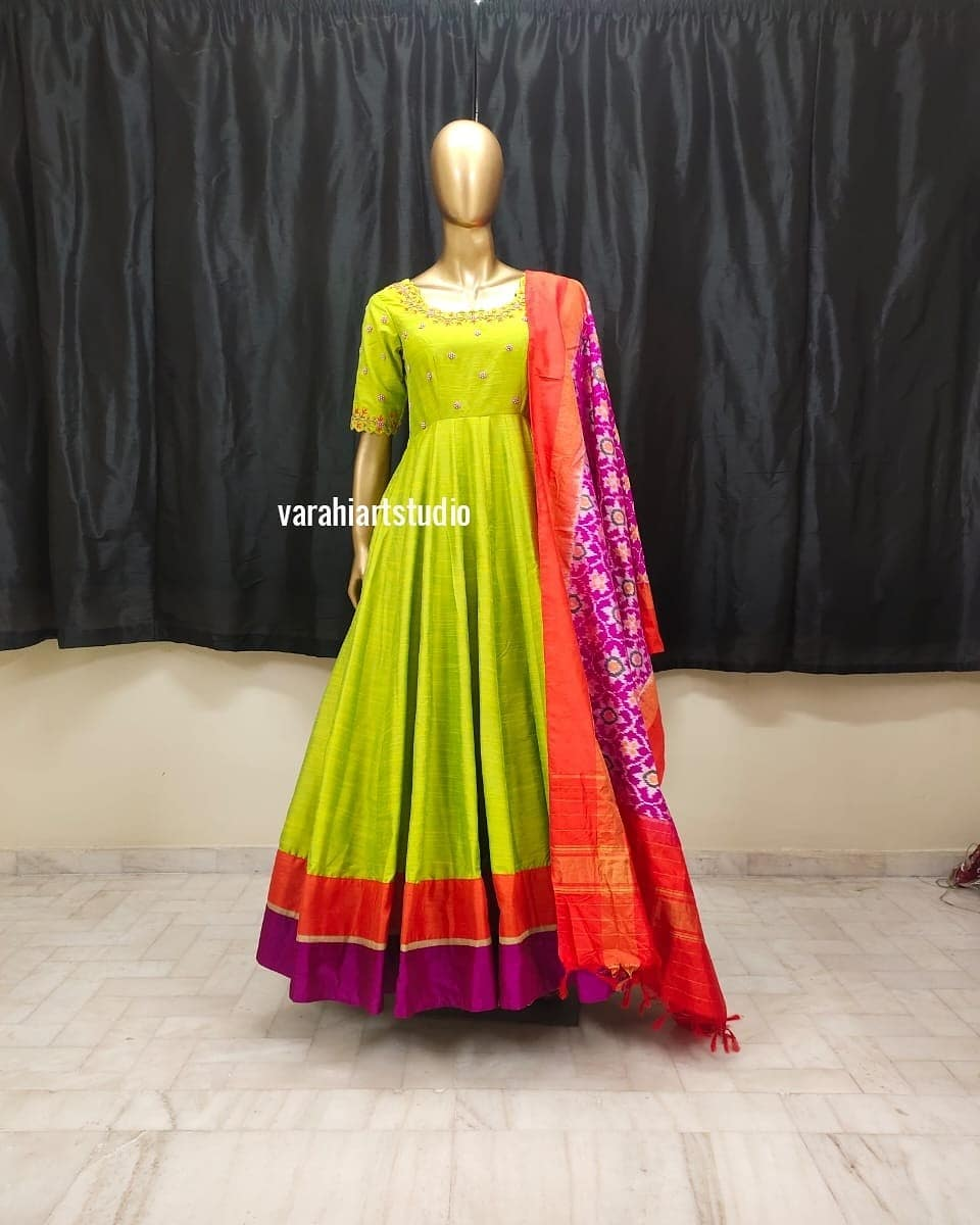Lovely parrot green color floor length dress with benarasi dupatta. This Outfit is Available at RS 9800 from Varahi art studio. | anarkali lehenga | black anarkali | navy blue anarkali | 2020-12-21