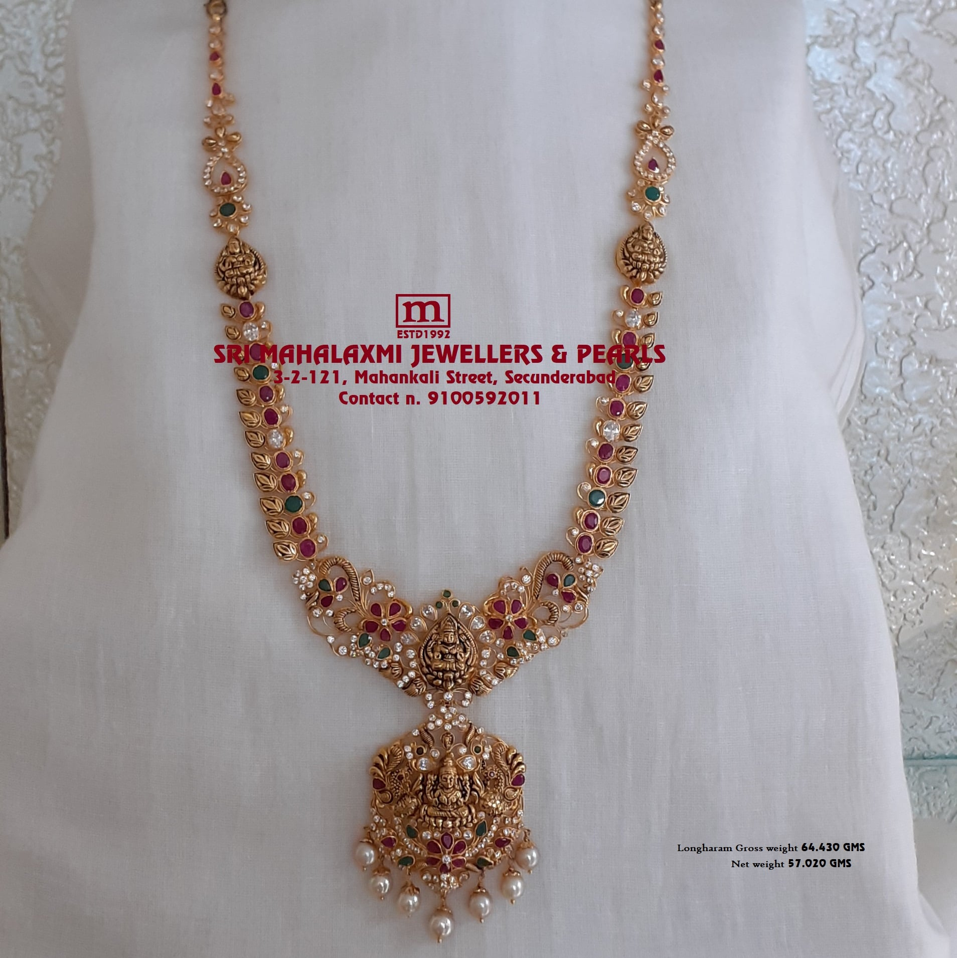 Presenting here is Light Weight Rech Looking Nakshi Mongo`s Laxmiji Longharam Studded with Ruby Emerald cz`s and South Sea Pearls Most Competitive PRICE`S Video Call  on 9100592011 |  |  |  | 2020-12-22