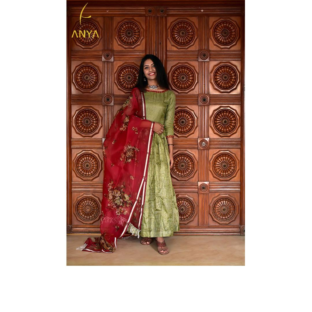 Regal royal and gorgeous this lovely Tussar Anarkali with has been paired with an intricately customized Organza duppata. Explore our range at anyaonline.in To customize your own call +91 96773 44055 | anarkali lehenga choli | chikankari anarkali suits | short frock suit designs latest | 2020-12-22