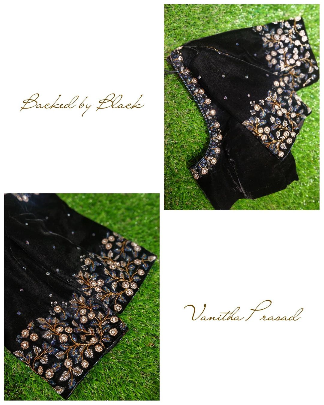Intricate Floral Art On Black Velvet Blouse A Choice To Wear For All Times Blouse Ke Gale Design Simple Blouse Designs For Cotton Sarees Thread Work Blouse 2020 12 22