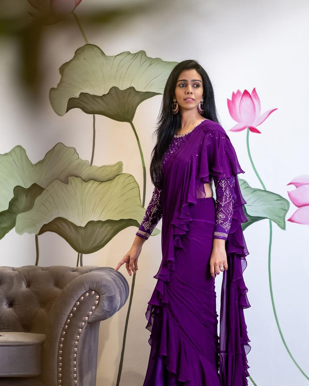 Issa has launched its new collection.  Presenting you: Purple ruffle saree with Chikankari embellished blouse.   work blouse design   sarees online shopping with price   net wali saree   2020-12-22